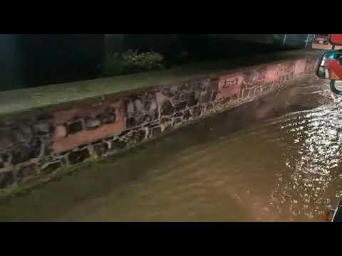 Ortsdurchfahrt von Stockheim beim Hochwasser vom 29. Januar 2021